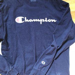 1036bf7f1e5e Champion Shirts | Logo Navy Blue Long Sleeve Crewneck | Poshmark